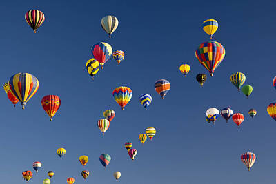 Many Vividly Colored Hot Air Balloons Poster by Ralph Lee Hopkins