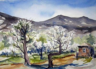 Poster featuring the painting Manzanar Orchard by Pat Crowther
