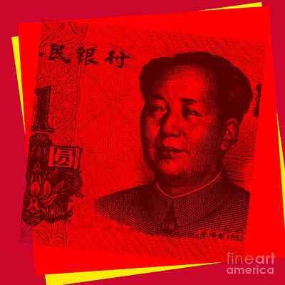 Poster featuring the digital art Mao Zedong Pop Art - One Yuan Banknote by Jean luc Comperat