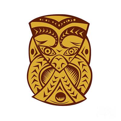 Maori Mask Woodcut Poster by Aloysius Patrimonio