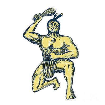 Maori Warrior Wielding Patu Kneeling Etching Poster by Aloysius Patrimonio