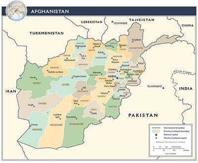 Map Of Afghanistan 2 Poster