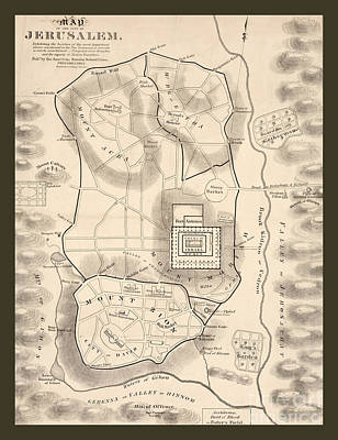 Map Of Ancient Jerusalem With Christian Landmarks Poster by Pd