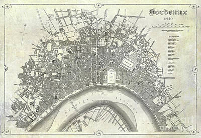 Map Of Bordeaux Circa 1840 Poster
