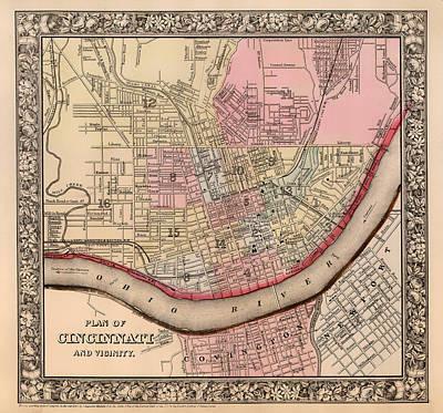 Map Of Cincinnati Ohio 1864 Poster by Mountain Dreams