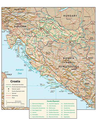 Map Of Croatia 2 Poster