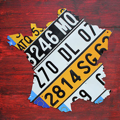 Map Of France Recycled License Plate Car Numberplate Art Poster