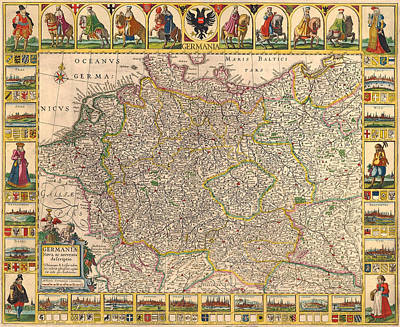 Map Of Germany 1630 Poster by Andrew Fare