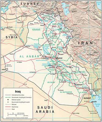 Map Of Iraq Poster by Roy Pedersen