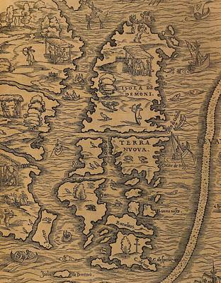 Map Of Islands Of Terra Nuova And Isola De Demoni Poster by Gian Battista Ramusio