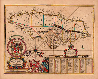 Map Of Jamaica 1671 Poster by Andrew Fare