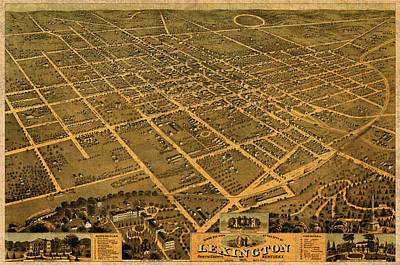 Map Of Lexington Kentucky Vintage Birds Eye View Aerial Schematic On Old Distressed Canvas Poster
