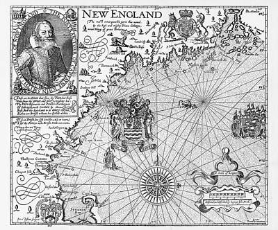 Map Of New England By Explorer John Smith, Circa 1624 Poster by Peacock Graphics