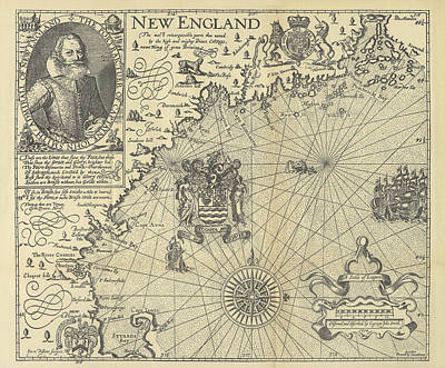 Map Of New England By Explorer John Smith, Circa 1624 Poster by Peacocok Graphics