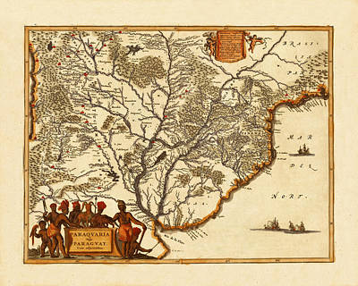 Map Of Paraguay 1671 Poster by Andrew Fare