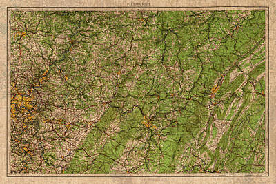 Map Of Pittsburgh Pennsylvania Vintage Topographical Schematic 1958 On Worn Distressed Canvas Poster by Design Turnpike