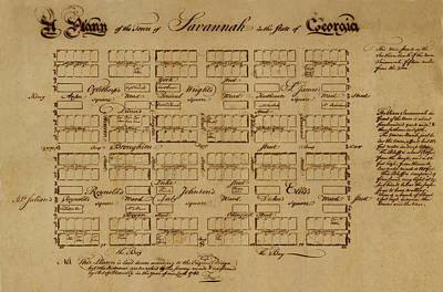 Map Of Savannah 1761 Poster