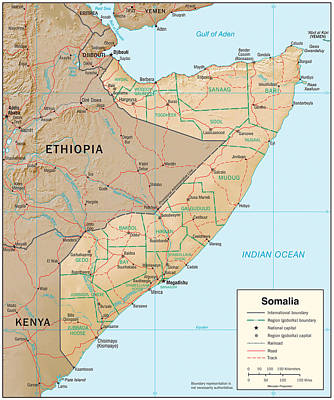 Map Of Somalia Poster by Roy Pedersen