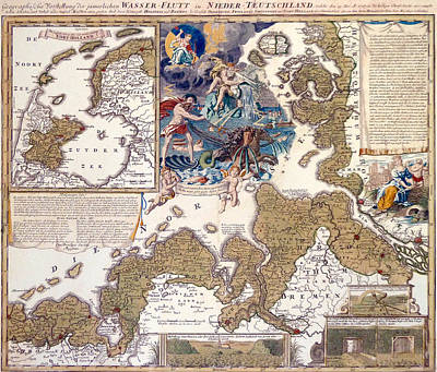 Map Of The Christmas Flood Of 1717 Poster