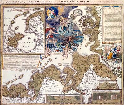 Map Of The Christmas Flood Of 1717 Poster by Johann Baptista Homann