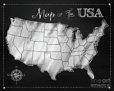 Map Of The Usa Chalkboard Map Of America Poster by Tina Lavoie