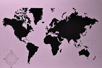 Poster featuring the photograph Map Of The World Pink by Rob Hans
