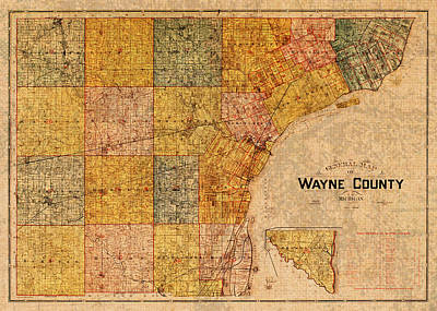 Map Of Wayne County Michigan Detroit Area Vintage Circa 1893 On Worn Distressed Canvas  Poster by Design Turnpike