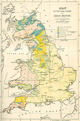 Map Showing The Coalfields Of Great Poster