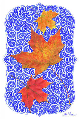 Poster featuring the digital art Maple Leaves by Lise Winne