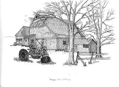 Poster featuring the drawing Maple Tree Farm by Jack G  Brauer