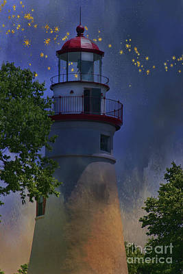 Marblehead In Starlight Poster by Joan Bertucci