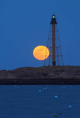 Marblehead Lighthouse Moonrise Poster by John Burk