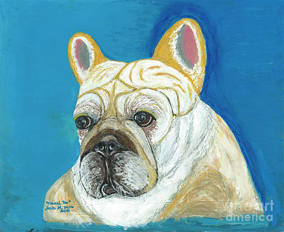 Poster featuring the painting Marcel II French Bulldog by Ania M Milo