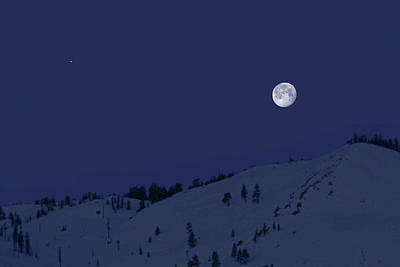 Poster featuring the photograph March Moon With Jupiter by Donna Kennedy