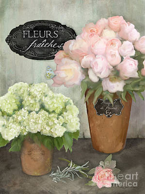 Marche Aux Fleurs 2 - Peonies N Hydrangeas Poster by Audrey Jeanne Roberts