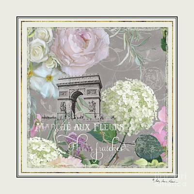 Poster featuring the painting Marche Aux Fleurs Vintage Paris Arc De Triomphe by Audrey Jeanne Roberts