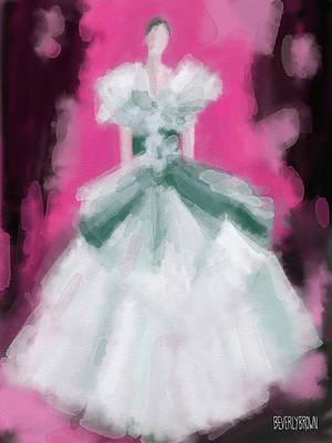 Marchesa Grey Dress Fashion Illustration Poster