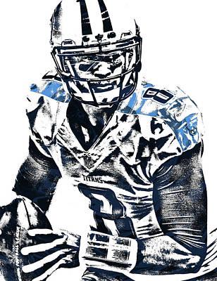 Poster featuring the mixed media Marcus Mariota Tennessee Titans Pixel Art 3 by Joe Hamilton