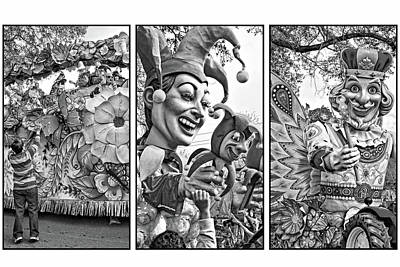 Mardi Gras Triptych - Let The Good Times Roll Bw Poster by Steve Harrington