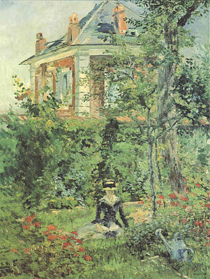 Marguerite In The Garden At Bellevue Poster by Edouard Manet