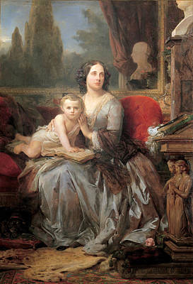 Maria Brignole-sale Duchess Of Galliera With Her Son Filippo Poster by Leon Cogniet