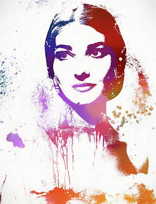 Maria Callas Paint Splatter Poster