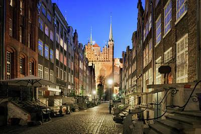 Mariacka Street At Night In Gdansk Poster