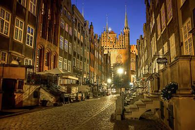 Mariacka Street Gdansk By Night  Poster
