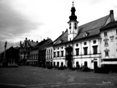 Maribor Square Black And White Poster