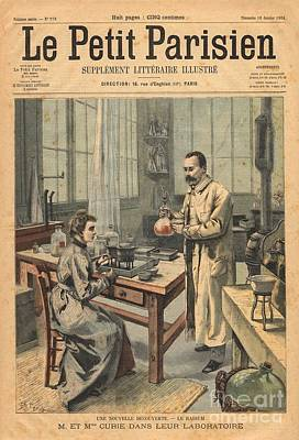 Marie And Pierre Curie In Laboratory Poster