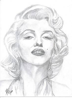 Poster featuring the drawing Marilyn  by Carol Wisniewski