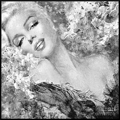 Marilyn Cherry Blossom Bw Poster
