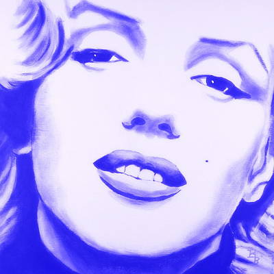 Poster featuring the painting Marilyn Monroe - Blue Tint by Bob Baker