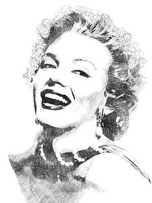Marilyn Monroe Bw Portrait Poster by Mihaela Pater